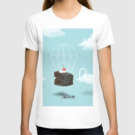 Isolated Chocolate cherry cake with parachute on blue sky background T-shirt