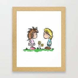 Lil Emo Hipsters In Love Framed Art Print