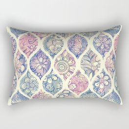 Patterned & Painted Floral Ogee in Vintage Tones Rectangular Pillow