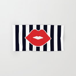 Red Lips with Stripes Hand & Bath Towel