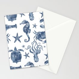 Delft Blue nautical Marine Life pattern, coastal beach Stationery Cards