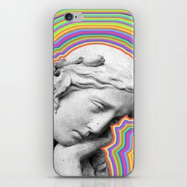 Psychedelic statue girl iPhone Skin