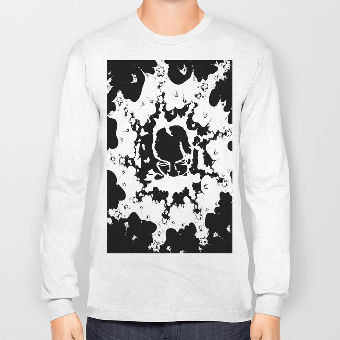 Abstract Black and White with Face Long Sleeve T-shirt