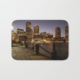 The Lights of Boston pier Bath Mat