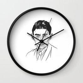 Kafka portrait in black and white Wall Clock