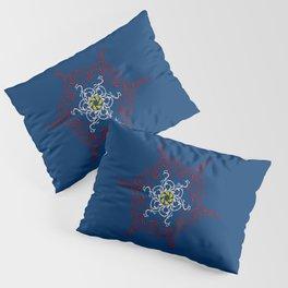 Mandala, Dark Teal, Red, White, Yellow Pillow Sham