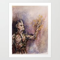 groot Art Prints featuring Groot by Sallygipsypunk
