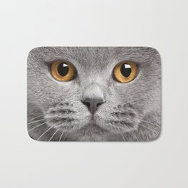 Cat in Grey Bath Mat