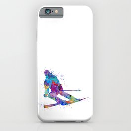 Boy Skiing Watercolor Gift iPhone Case