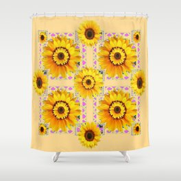 CREAM COLOR WESTERN STYLE YELLOW SUNFLOWERS Shower Curtain