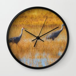 Sandhill Cranes in Fall Wall Clock