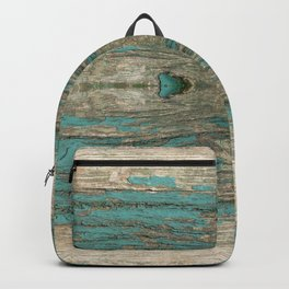 Weathered Rustic Wood - Weathered Wooden Plank - Beautiful knotty wood weathered turquoise paint Backpack