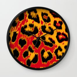 Red and Gold Leopard Spots Wall Clock
