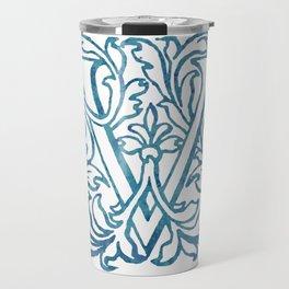 Letter V Elegant Vintage Floral Letterpress Monogram Travel Mug