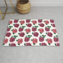 Dahlias. Watercolor flowers illustration. Red floral pattern. Botanical art. Сhrysanthemum Rug