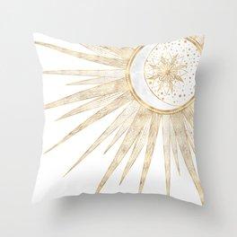 Elegant Gold Doodles Sun Moon Mandala Design Throw Pillow