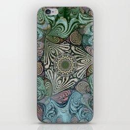 Labyrinth Mandala Blue Green Grey iPhone Skin