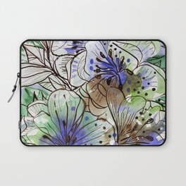 Barroco -Floral watercolor and ink line drawing Laptop Sleeve