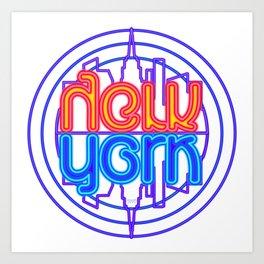 """Neon New York"" Lakeview Mirror Image Art Print"
