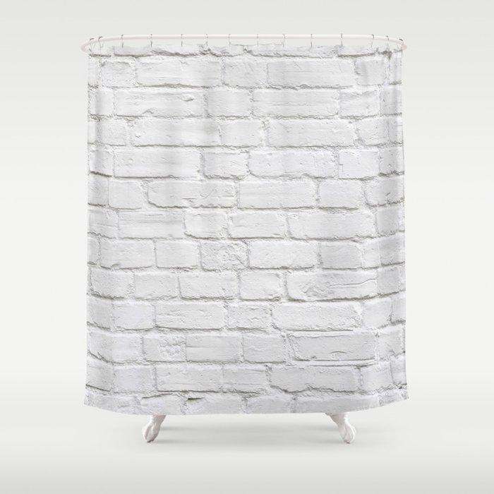 White Brick Wall Shower Curtain