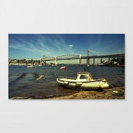Royal Albert Bridge and boat  Canvas Print