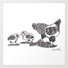 Hen and Chicks Art Print
