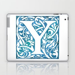 Letter Y Elegant Vintage Floral Letterpress Monogram Laptop & iPad Skin