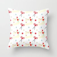 sewing Throw Pillows featuring Sewing fun by Samantha Eynon