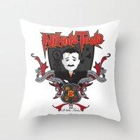 tesla Throw Pillows featuring Nikola Tesla by Spectacle Photo