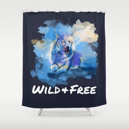 Wild and Free - Wolf illustration, quote Shower Curtain