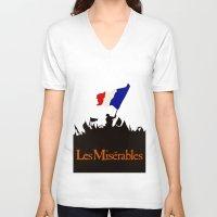 les miserables V-neck T-shirts featuring Les Miserables by TheWonderlander