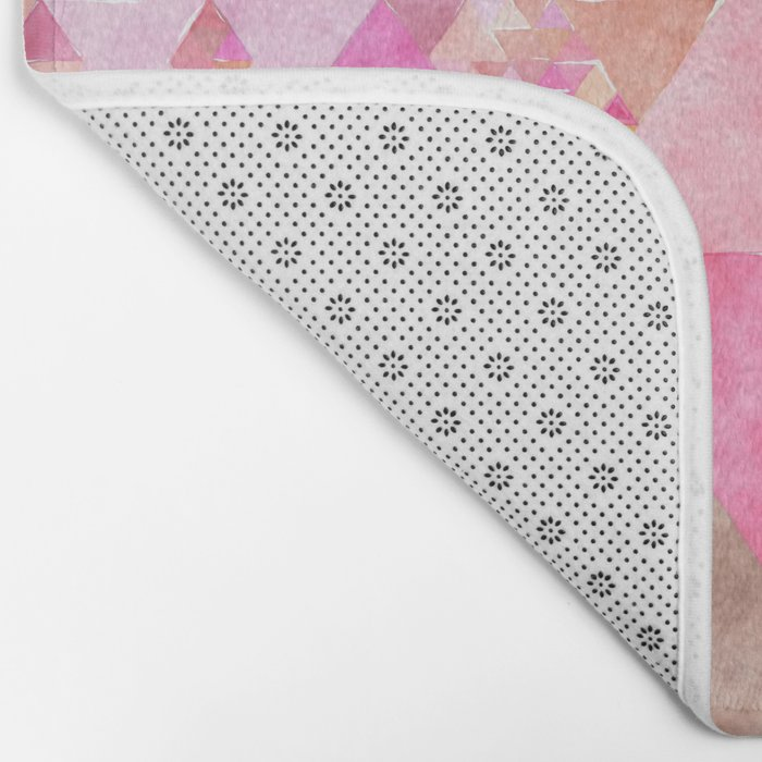 Triangles in pink - Watercolor Illustration pattern Bath Mat