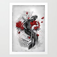 koi Art Prints featuring Black Koi by Marine Loup