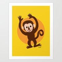 monkey Art Prints featuring Monkey by BATKEI