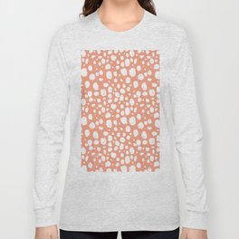Painterly Dots in Peach and White Long Sleeve T-shirt