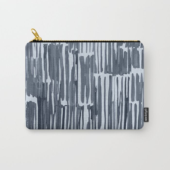 Simply Bamboo Brushstroke Indigo Blue on Sky Blue Carry-All Pouch