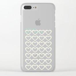 Cute Hearts Pattern Grey Clear iPhone Case