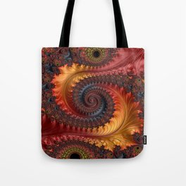 Feathery Flow - Red Fractal Art Tote Bag