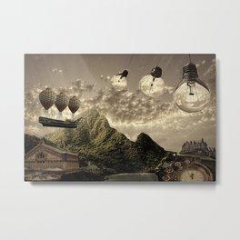 Steampunk clock and light bulbs background Metal Print