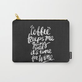 Coffee & Wine – White Ink Carry-All Pouch