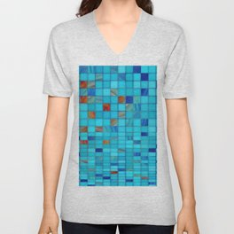 Blue And Red Geometrical Art - Block Party 1 - Sharon Cummings Unisex V-Neck