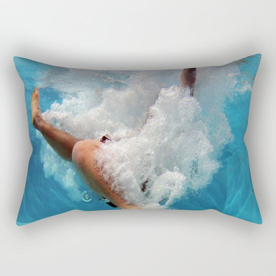 Pool Blue Throw Pillows : Pool - Blue Water - Beach - Ocean - Waves - Splash Rectangular Pillow by Walk On Water Society6