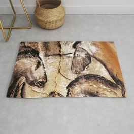 Facing Horses // Chauvet Cave Art Rug