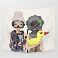 diver Wall Tapestries featuring diver by Anne  Martwijit