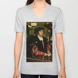 Hans Holbein  - Portrait of Georg Giese Unisex V-Neck