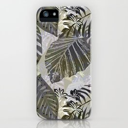 Tropical leaves and flowers in gray. iPhone Case