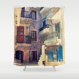 Kalymnos Greek Island architecture Shower Curtain