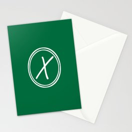 Monogram - Letter X on Cadmium Green Background Stationery Cards