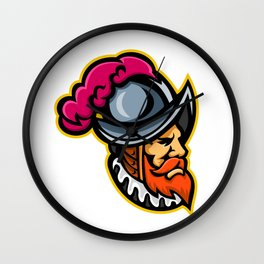 Spanish Conquistador Head Mascot Wall Clock