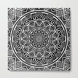 Black and White Simple Simplistic Mandala Design Ethnic Tribal Pattern Metal Print